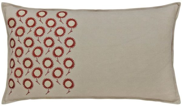 Daisy murmur red patterned cushion