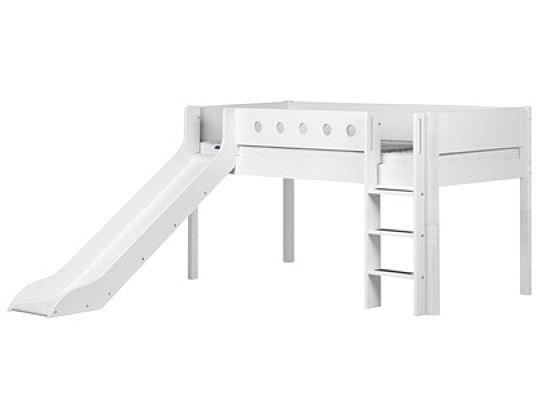Flexa White Mid-High Bed with Slide