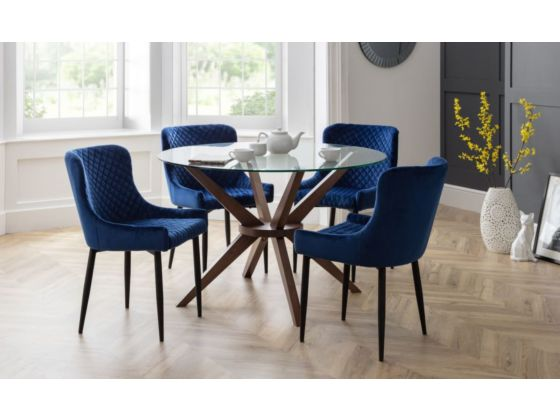 Lux Blue Velvet Dining Chair
