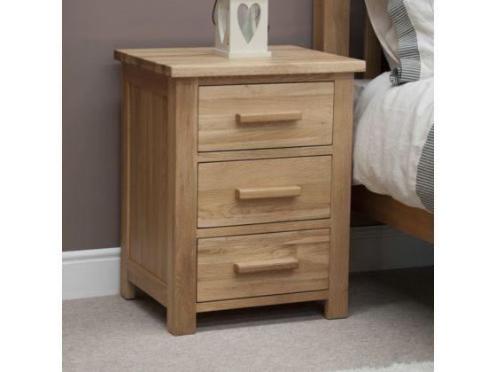 Opus Oak 3 Drawer Bedside