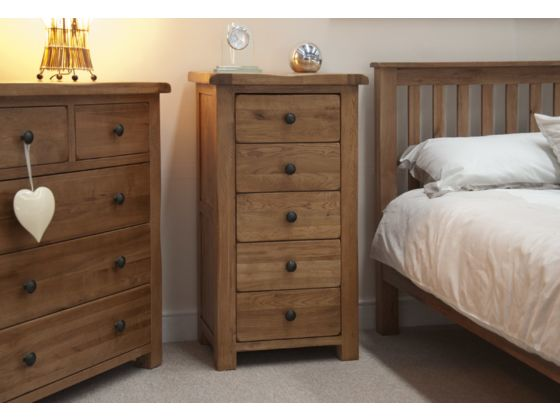Rustic 5 Drawer Narrow Chest