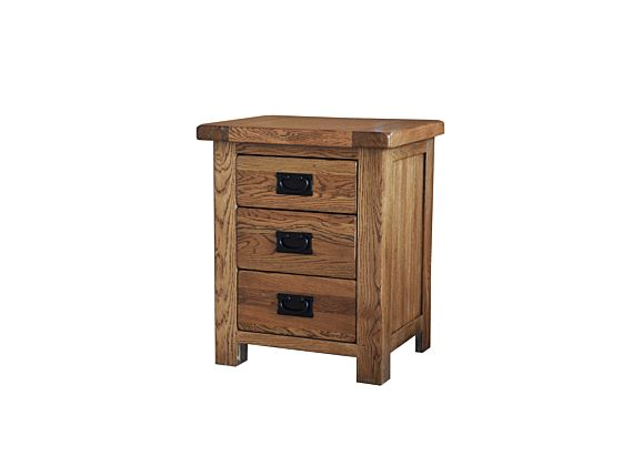 Rustique 3 Drawer Bedside