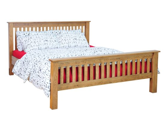 Rustique Oak Bedframe High Foot End