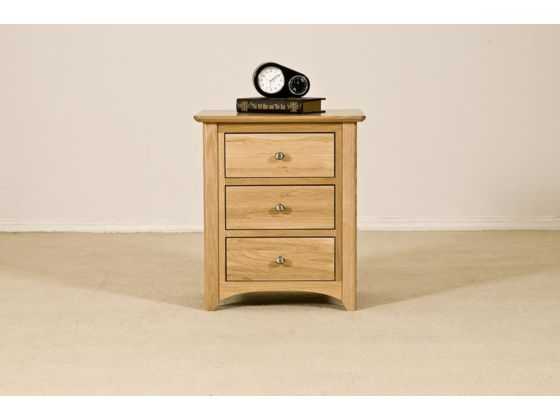 Turin Oak 3 Drawer Bedside