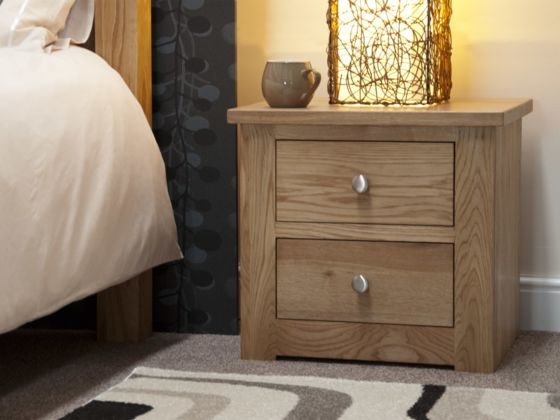 Torino Oak 2 Drawer Narrow Bedside
