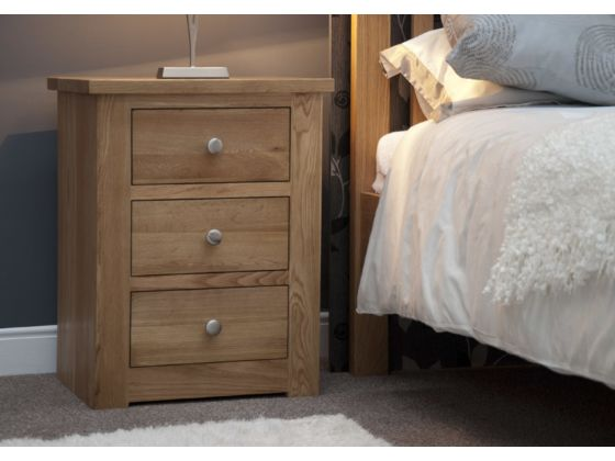 Torino Oak 3 Drawer Narrow Bedside