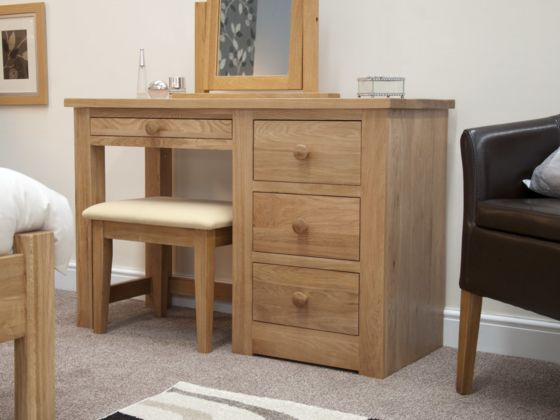 Torino Oak Dressing Table with Stool